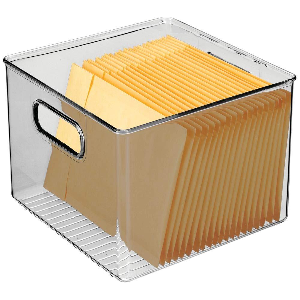 Ampio Contenitore Ufficio con Manici integrati Portaoggetti da scrivania in Robusta plastica Grigio Ufficio e Bagno mDesign Set da 4 Box in plastica Ideali per Cucina