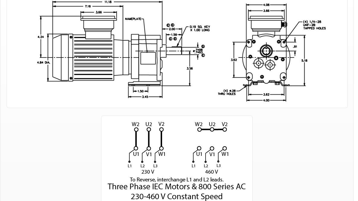 Bison Model 017 246 0005 Gear Motor 1 4 Hp 336 Rpm 230 460v 12 Lead Wiring Diagram Iec