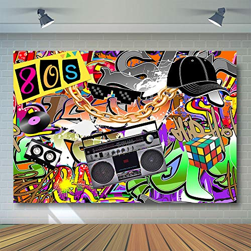 COMOPHOTO Hip Pop 80's Themed Backdrop 80s Graffiti Music Photography Background 7x5ft Vinyl 80th Themed Party Banner Decoration Supplies Portrait Backdrops -