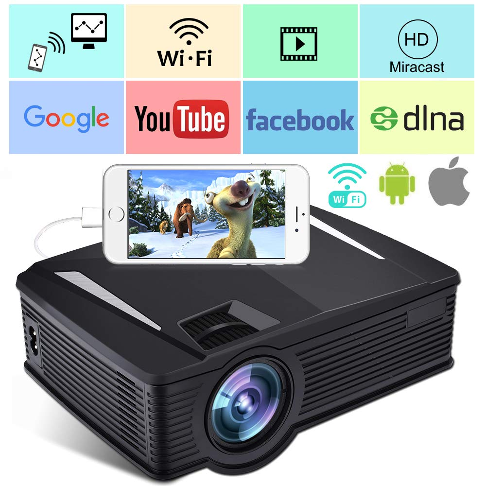 Wireless WiFi Beamer 2400 Lumen, Weton WiFi Filmprojektor Portabler LED Mini Beamer 1080p HD Videoprojektor Heimkino Projektoren für Home Outdoor, WLAN Direkt in Verbindung Mit Smartphones, Unterstützung HDMI, VGA,SD,AV,USB,50.000 Stunden Leben(2018 Aufger