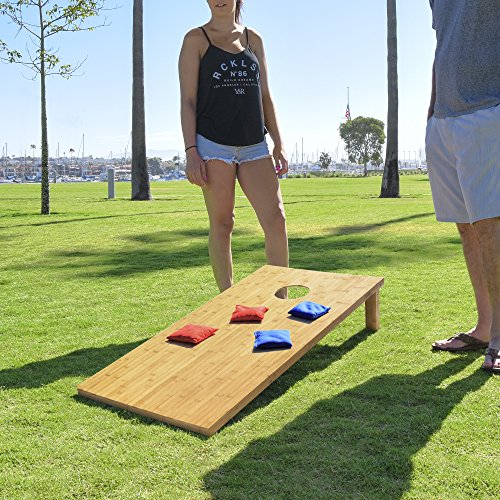 GoSports Bamboo Wood Cornhole Set with 8 Bean Bags & Carrying Case - Premium All Weather Design (Choose Regulation or Tailgate Size)
