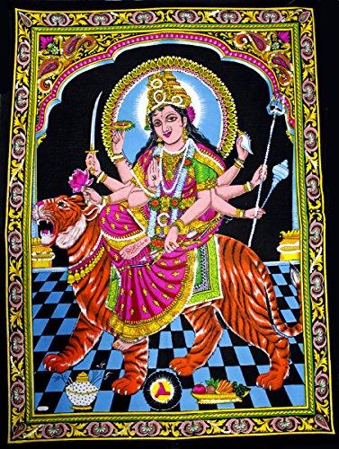Huge Cotton Fabric Durga Ma Mother Goddess Yoga 43