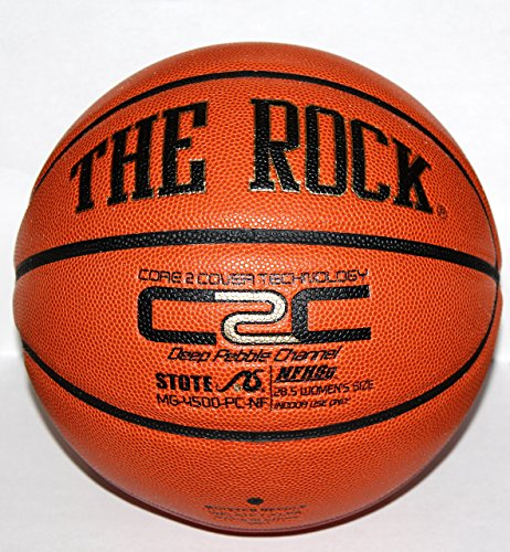 The Rock 28.5 Official Womens Composite Leather Basketball - Superior Air Retention and Durability - Exclusive Patented Unique Deep Pebble Channel Design - Comes w/ Certificate of Authenticity