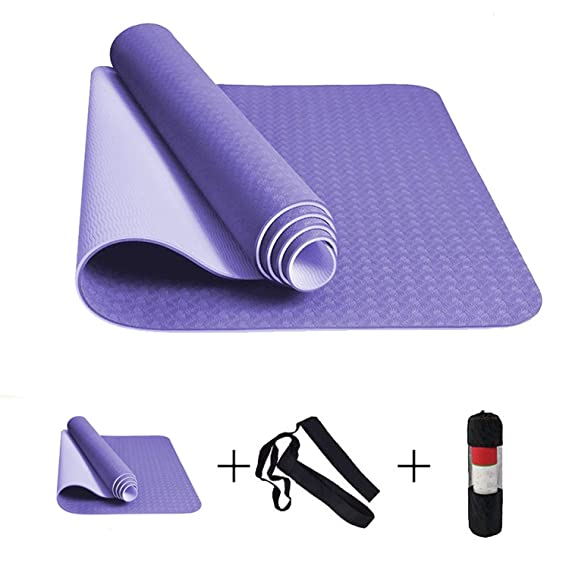 Amazon.com : 6MM No-Slip Yoga Mat TPE Sport Yoga Exercise ...