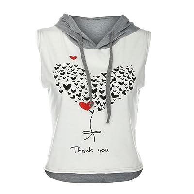 LONUPAZZ Débardeurs Femme Printed Hooded Crop Top Sans Manches T-Shirt Tops