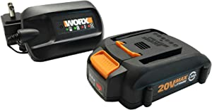 WORX WA3606, 2.0Ah, Indicator, 5 hr Charging Time 20V Battery and Charger, Black & Orange