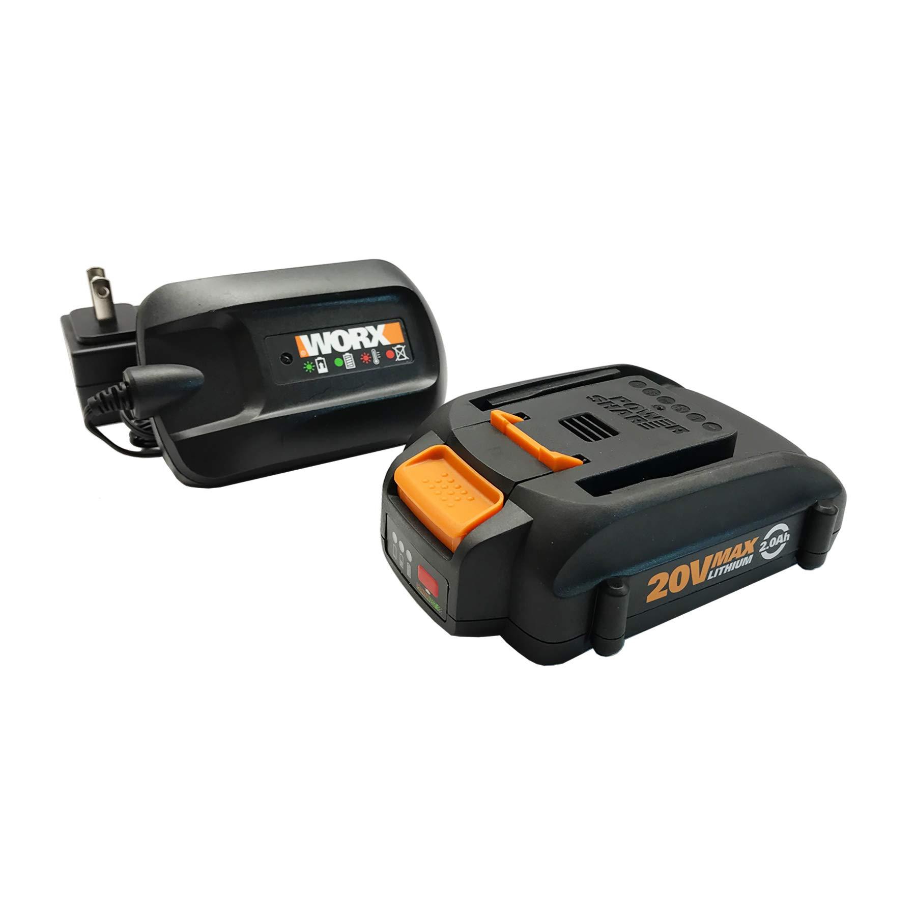 WORX WA3606, 2.0Ah, Indicator, 5 hr Charging Time 20V Battery and Charger, Black & Orange