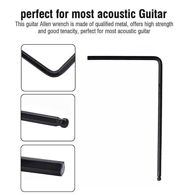 Llaves Allen para Guitarra,2Pcs Llave Hexagonales Allen Metal Herramienta Ajuste para Guitarra Luthier Kit Accesorios para Instrumentos Musicales 4mm, ...