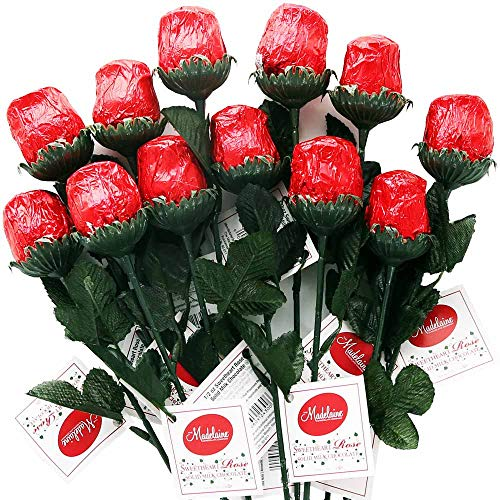 Madelaine Chocolate One Dozen Red Sweetheart Roses - Premium 1/2 OZ Solid Milk Chocolate Roses Wrapped in Italian Foils - Chocolate Flower Bouquet (Red, 12 Pack)