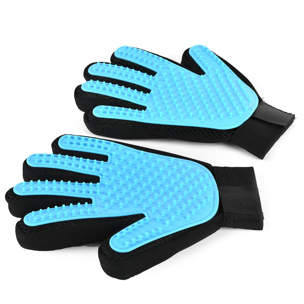 Pet Grooming Glove Pack of 2 Grooming Glove Dog Grooming Glove Cat Grooming Glove with Soft Silicone Tips Glove Brush Length 9.1'' Width 6.7'' Adjustable Sticker Cuff One Size Fits All Wan