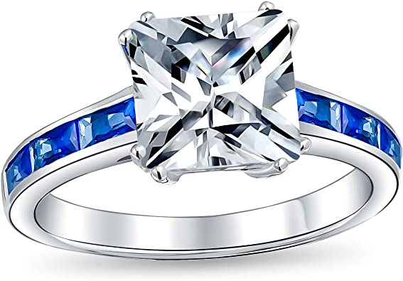 Blue Cushion Cut Center Clear Cluster Cubic Zirconia Ring Rhodium Plated Sterling Silver