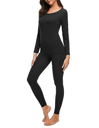a7c9244ed2ac M-anxiu Baser Layering Sets Womens Plus Size Thermal Underwear Soft Knit  Top & Legging