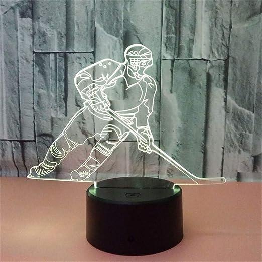 ZCHPDD Gradiente Luz De Noche Jugador De Hockey Táctil 3D Lámpara ...