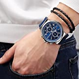Mens Stainless Steel Casual Navy Blue Silicone Watch with Chronograph and Waterproof