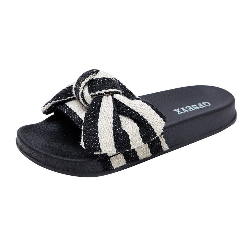Women Bow Knot Non-Slip Shower Sandals,FAPIZI Home Soft Foams Sole Pool Slippers Bathroom Slide Water Flat White