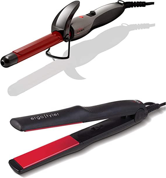 GA.MA Italy Ergostyler Flat Iron Hair Straightener + Tourmaline Curling Iron 0.75 Inches. Auto Bivolt. Combo Pack Gama