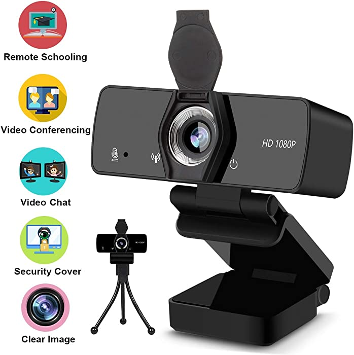 Webcam with Microphone, 1080P HD Streaming Web Camera for Computer Desktop Laptop, USB PC Camera 110-Degree Wide Angle with Mic Privacy Cover Tripod for Conference, Gaming, Video Calling, Study