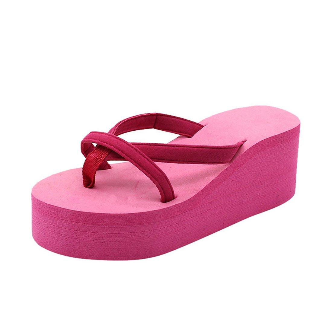 Dihope Damen Mode Flip-Flops Elegant Hausschuhe Zehentrenner Mauml;dchen Schuhe Sommer Sandalen Strand Schuhe Hoher Absatz  34|Rosa