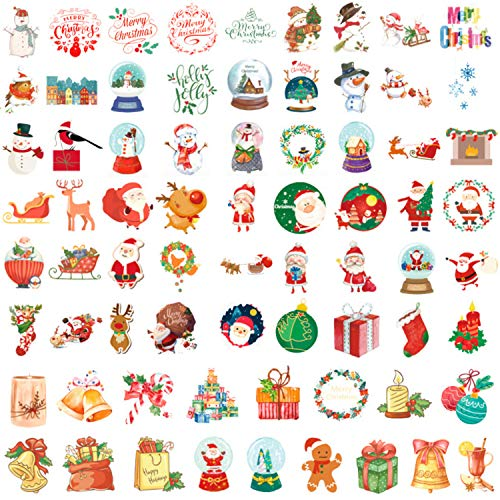 Christmas Ornament Decorative Stickers 200 Pcs for Card Making, Journal, Planner, Frame, Diary, Scrapbooking Embellishment, DIY Arts and Crafts