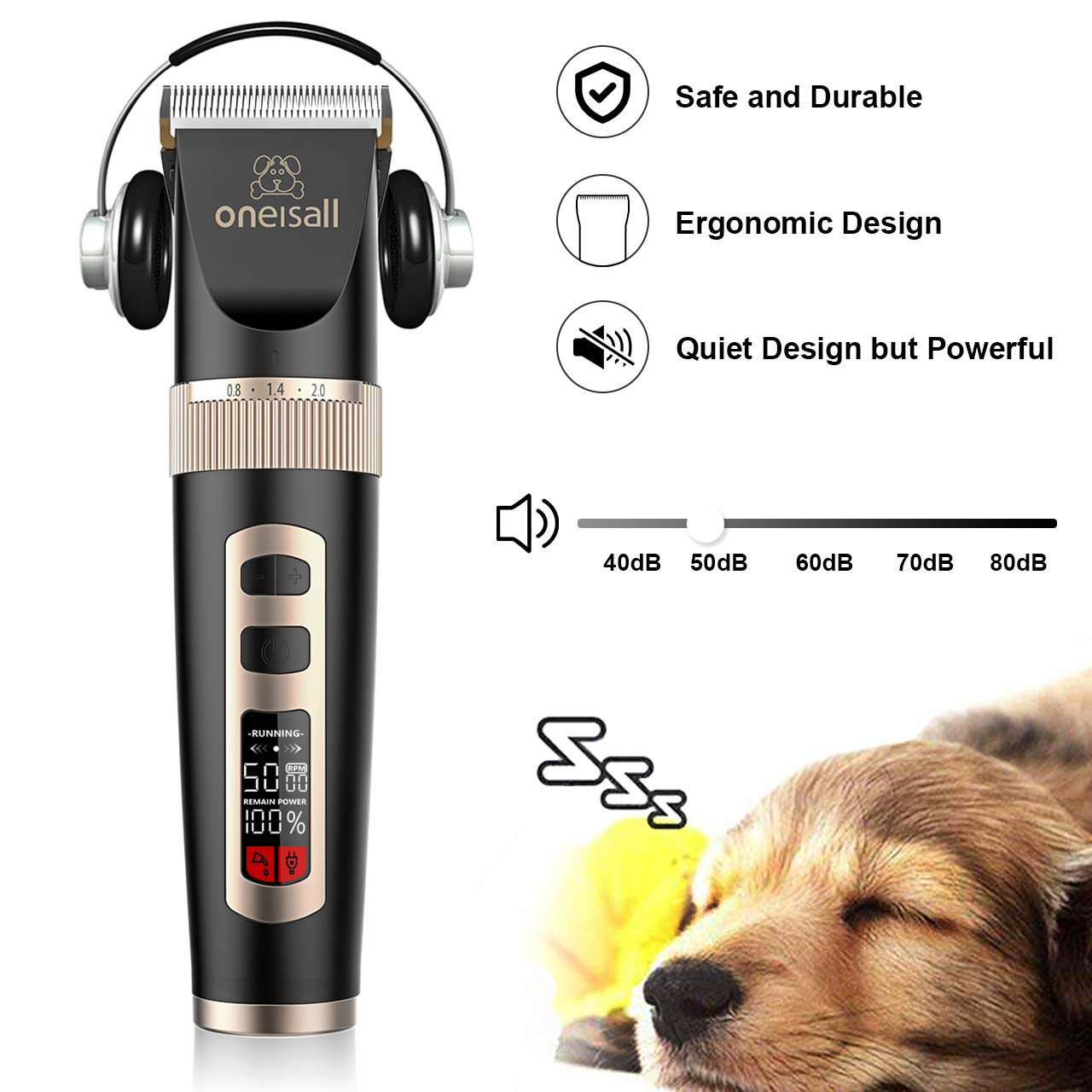 oneisall Dog Clippers Professional, 3-Speed Quiet Rechargeable Cordless Pet Grooming Hair Clippers Set for Small and Large Dogs Cats-Black by oneisall (Image #4)