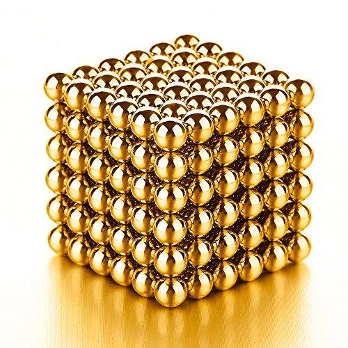 PROLOSO Magnetic Balls Golden DIY Game Sculpture Desk Toy for Intelligence Development Stress Relief (3 MM Set of 216 Balls)