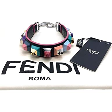 25ebdf8c6f4a Image Unavailable. Image not available for. Color  Fendi Women s Strap You  Black Rainbow Multicolored Studded Mini Leather Shoulder ...