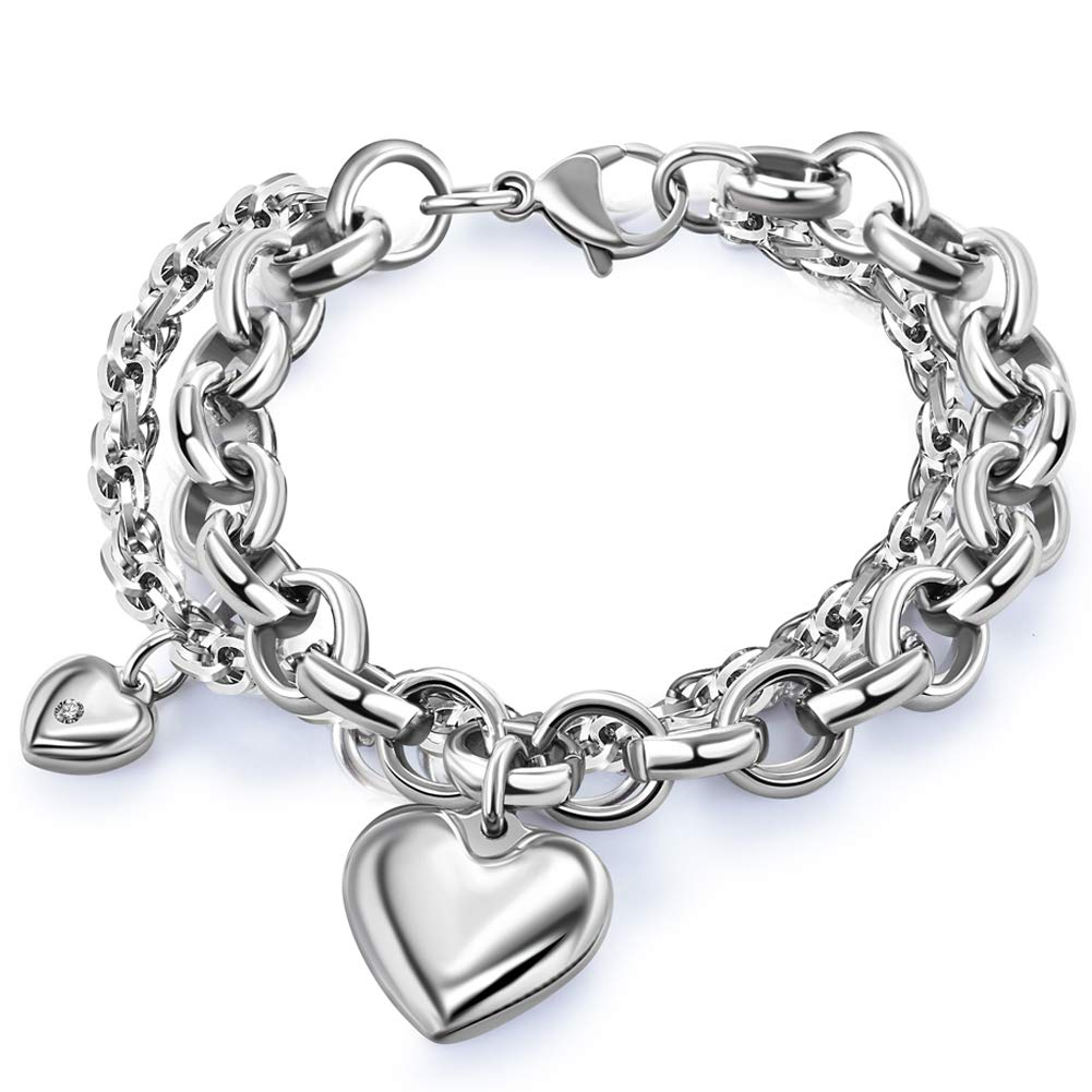 Heart Pendant Bracelet With...