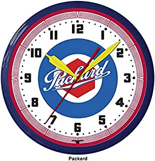 """product image for Packard Automobile Car Emblem Neon Wall Clock 20"""" Made In USA, 110V Electric, Aluminum Spun Case, Powder Coated Finish, Glass Face, Brass Movement, Pull Chain, 1 Year Warranty"""