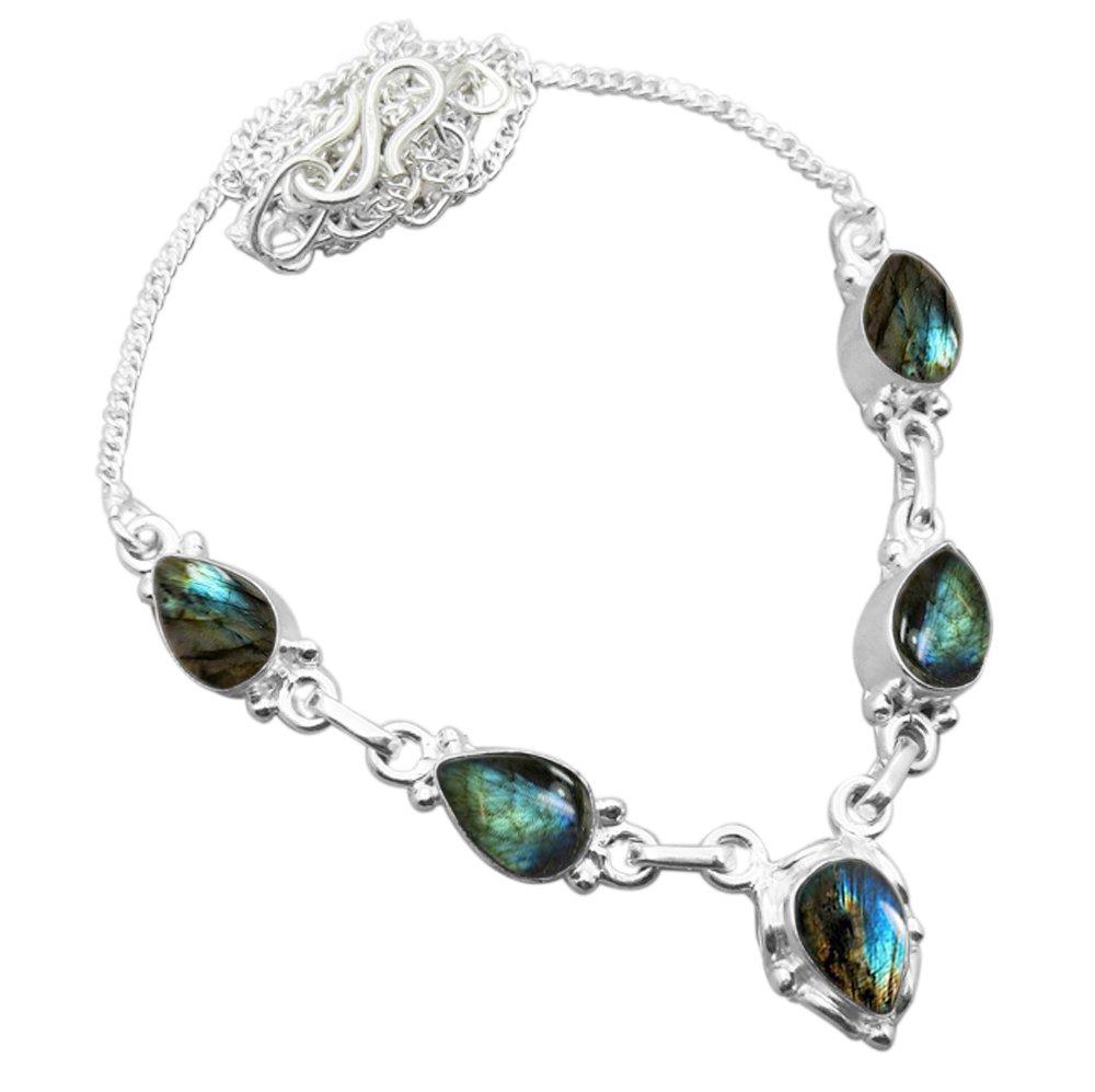 925 Silver Plated 6.50ctw Genuine Labradorite Necklace