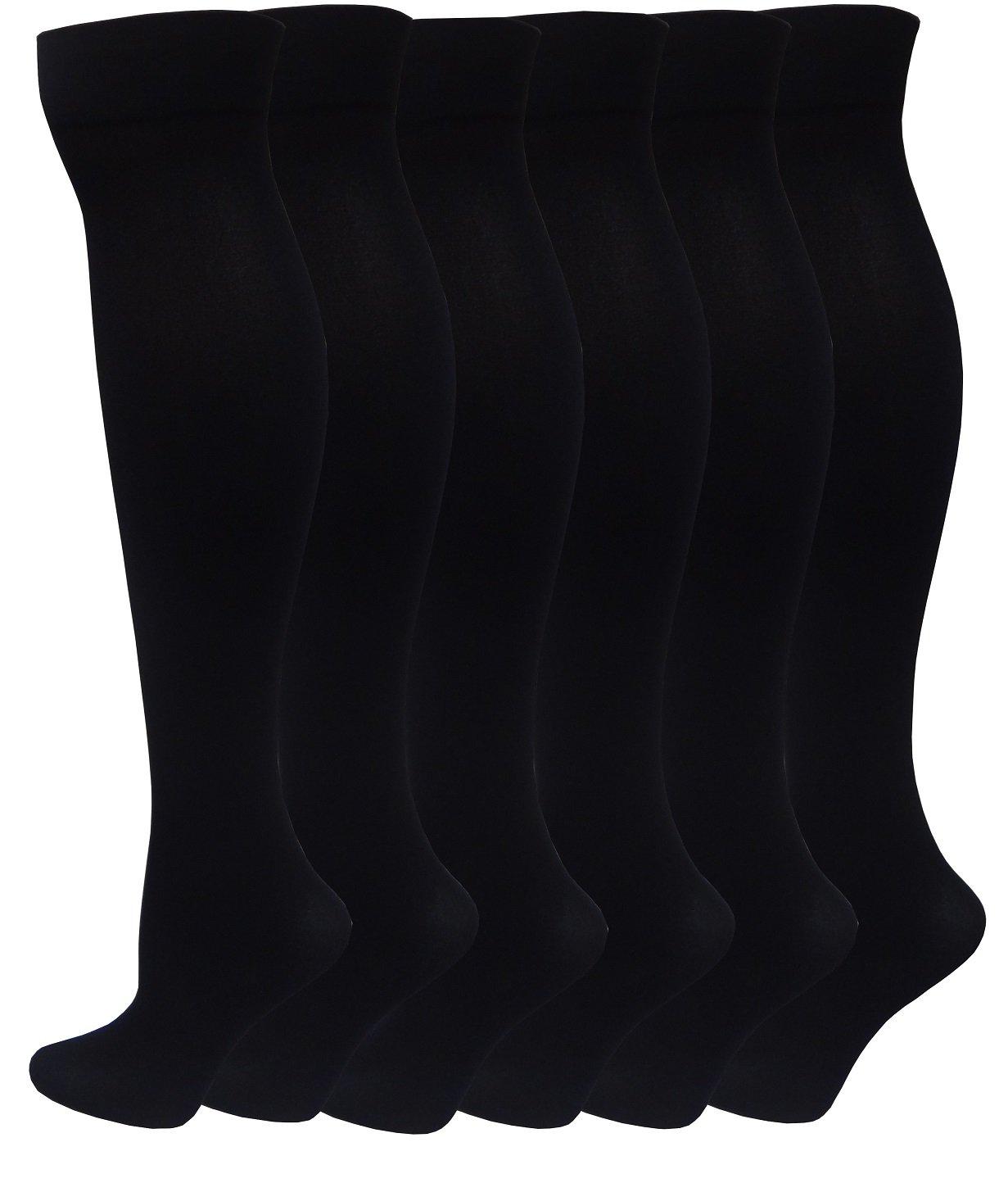 6 Pairs Women's Opaque Spandex Trouser Knee High Socks Queen Size 10-13 (Black)