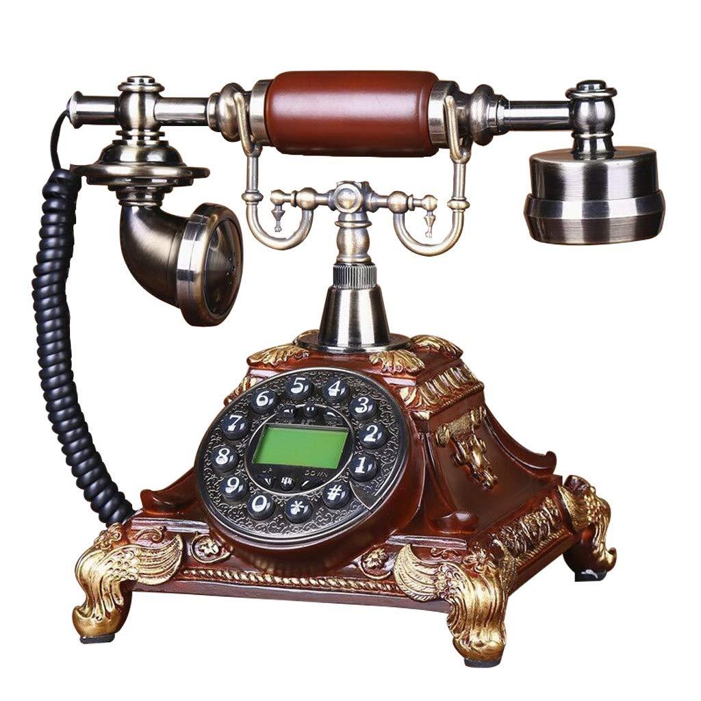 1960年代のスタイルビンテージアンティークスタイルロータリーダイヤル電話、ビンテージクラシック有線電話固定の家とオフィスの装飾(発信者番号通知/ハンズフリー)、さまざまな色とスタイルで利用可能 (色 : Anti-wood color, 三 : D) B07J3GBP43 Anti-wood color D