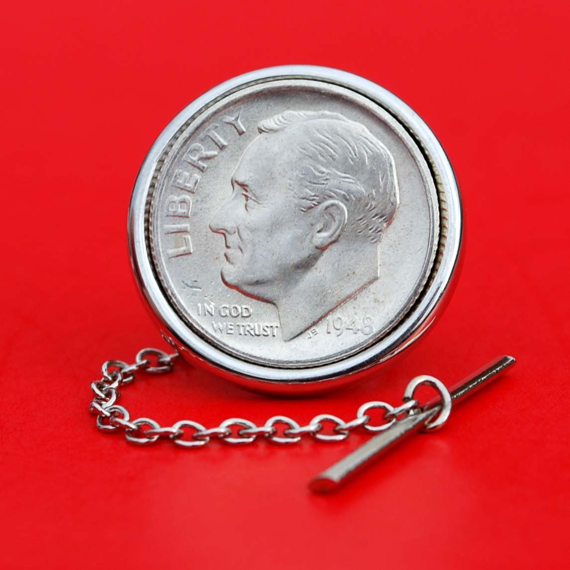 US 1948 Roosevelt Dime 90% Silver 10 Cent Gem BU Uncirculated Coin Silver Plated Tie Tac Tack Pin NEW