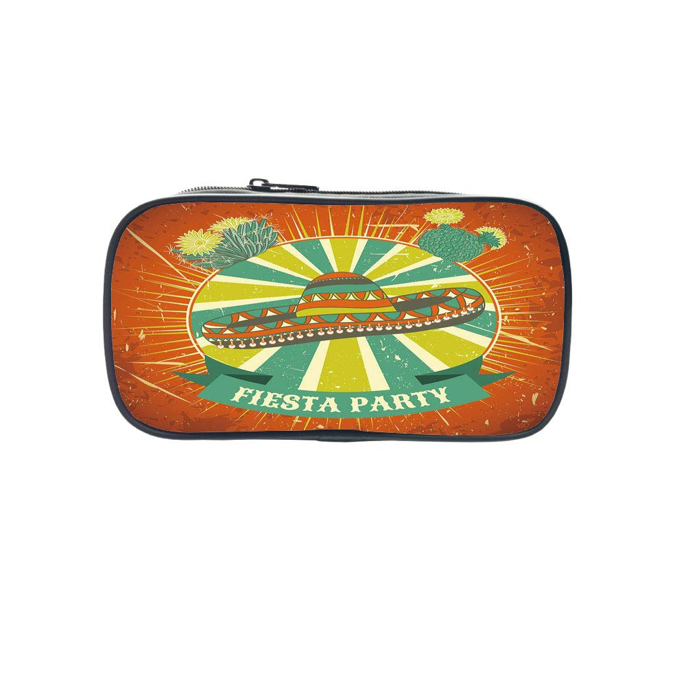 Strong Durability Pen Bag,Fiesta,Latin America Culture Inspired Ethnic Sombrero and Cactuses Worn Decorative,Orange Seafoam Yellow Green,for Students,Diversified Design