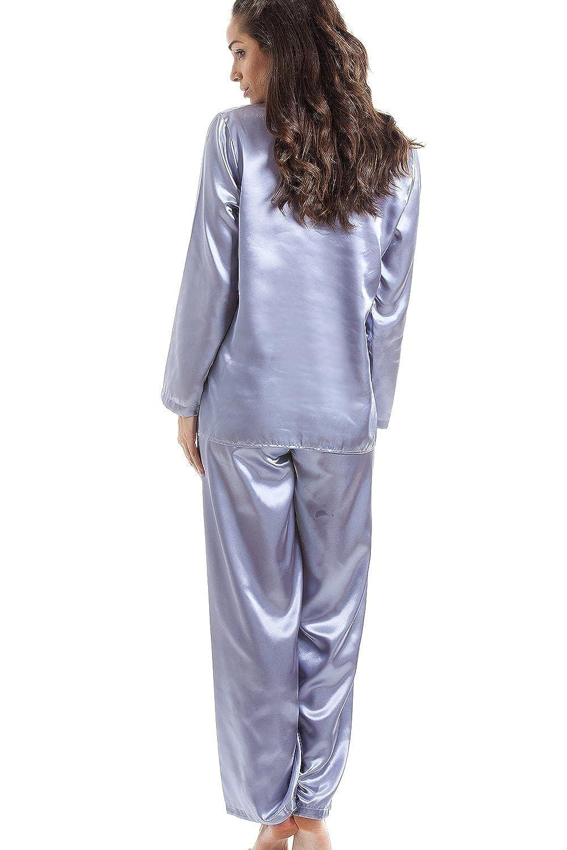 Camille - Conjunto de pijama largo - Satinado - Gris: Amazon.es: Ropa y accesorios