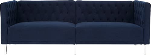 Button Tufted Velvet Couch Dark Blue,JULYFOX 80.5 inch Mid Century Modern Living Room Sofa 700lb Heavy Duty 11inch Thicker Comfy Cushion