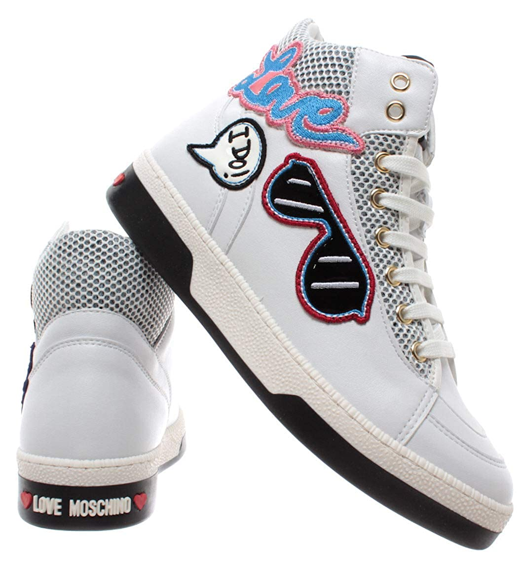 White Pu Sneakers Moschino Bianco Scarpe Vit Love Donna 7pZwg