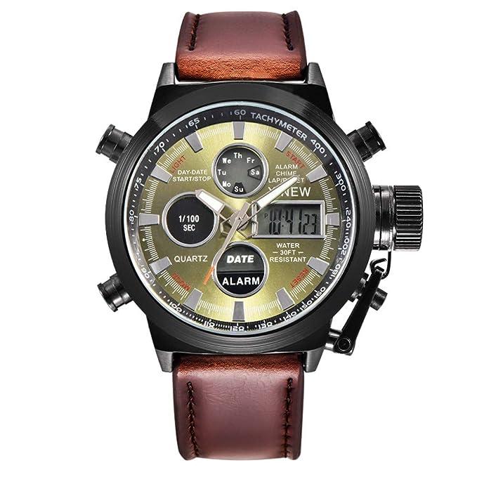 Bestow Reloj de Pulsera de Acero Inoxidable Analšgico para Hombre Reloj Militar de Cuarzo LED(CafšŠA): Amazon.es: Ropa y accesorios