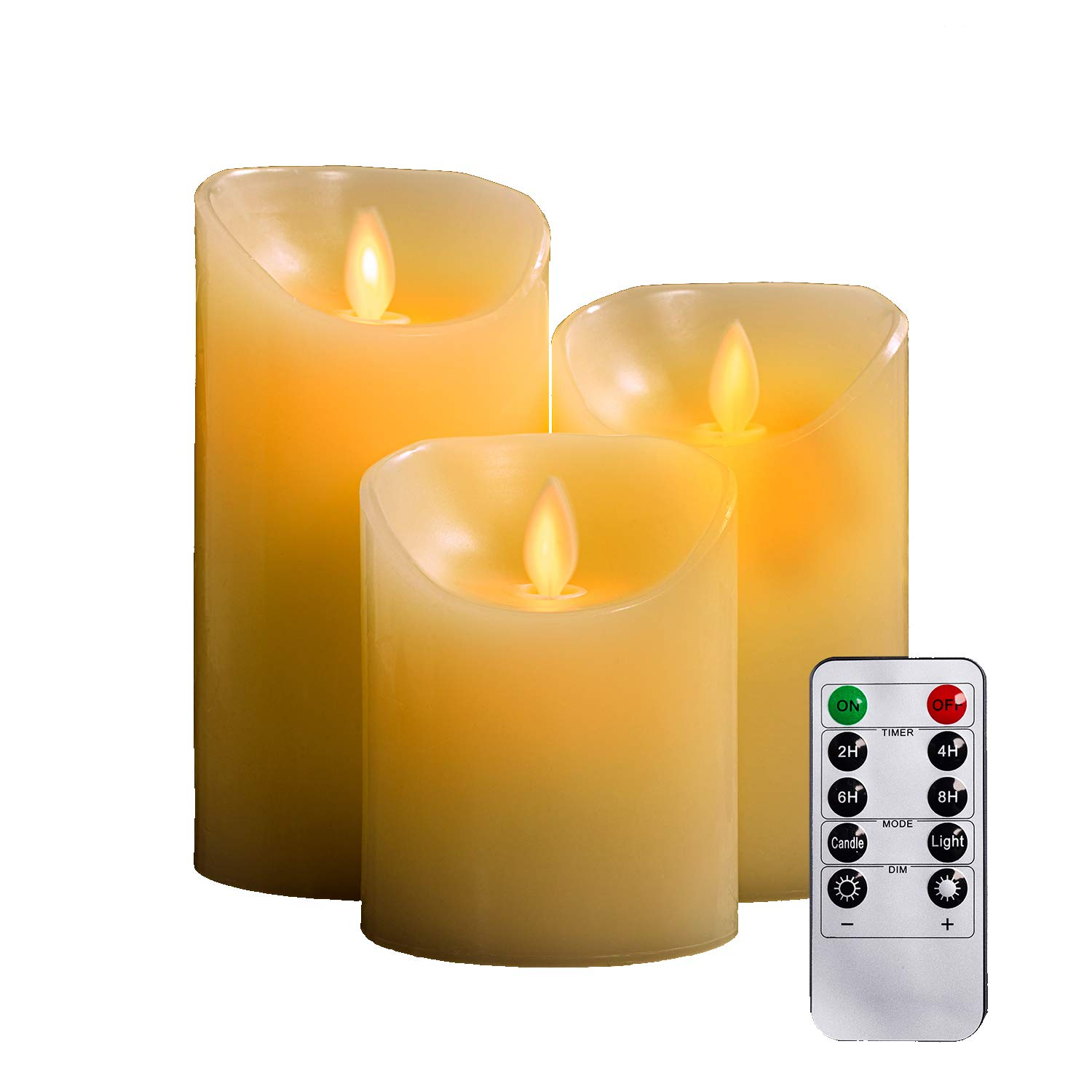 Flameless Candles, TEECOO Flickering LED Candles Φ3.15'' x H 4'' 5'' 6'' Set Of 3 Real Wax Pillar Not Plastic With 10-key Remote Control Timer 300+ Hours (3, Ivory) by TEECOO (Image #1)