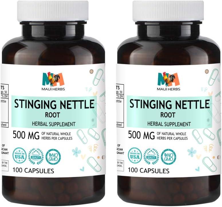 Stinging Nettle Root Capsules, 500 mg, Organic Stinging Nettle Root Urtica Dioica 2×100 Capsules