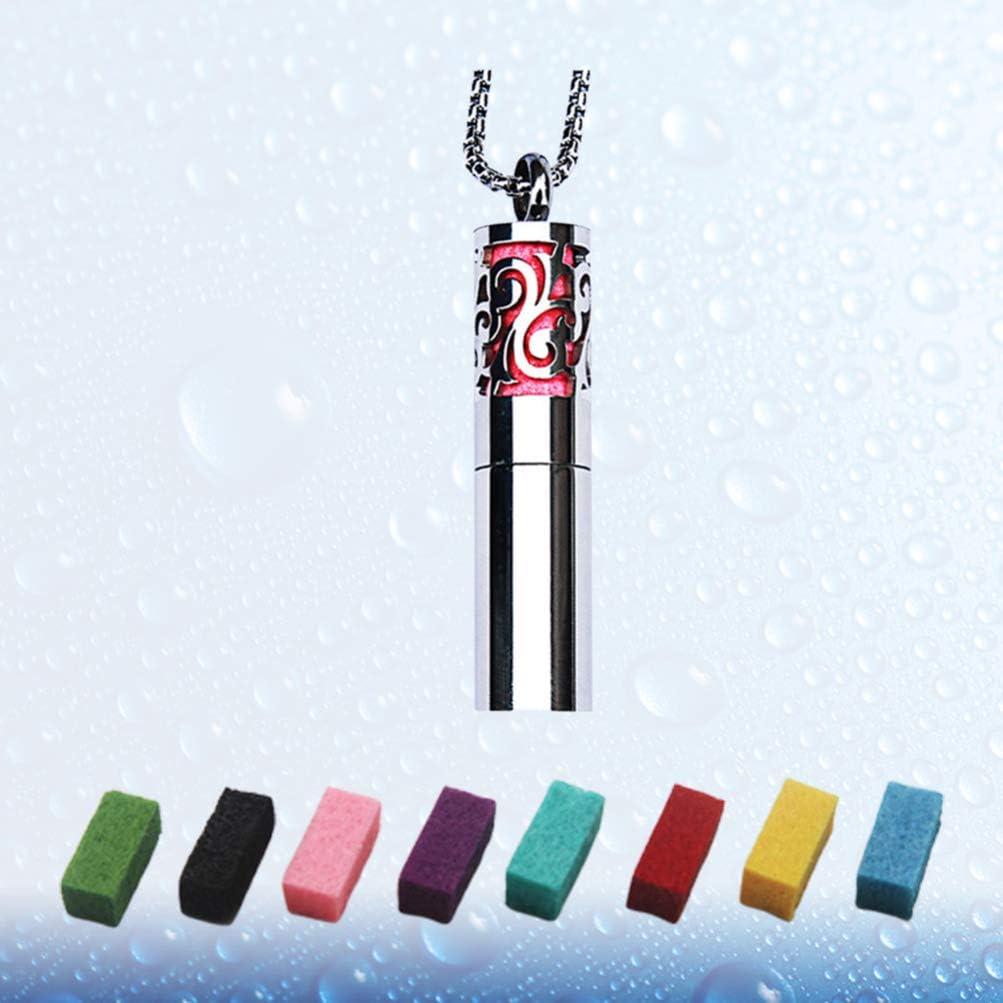 Healifty Difusor de Aceites Esenciales Collares Collar de Aromaterapia Colgante de Medall/ón con 8 Almohadillas de Recarga de Color