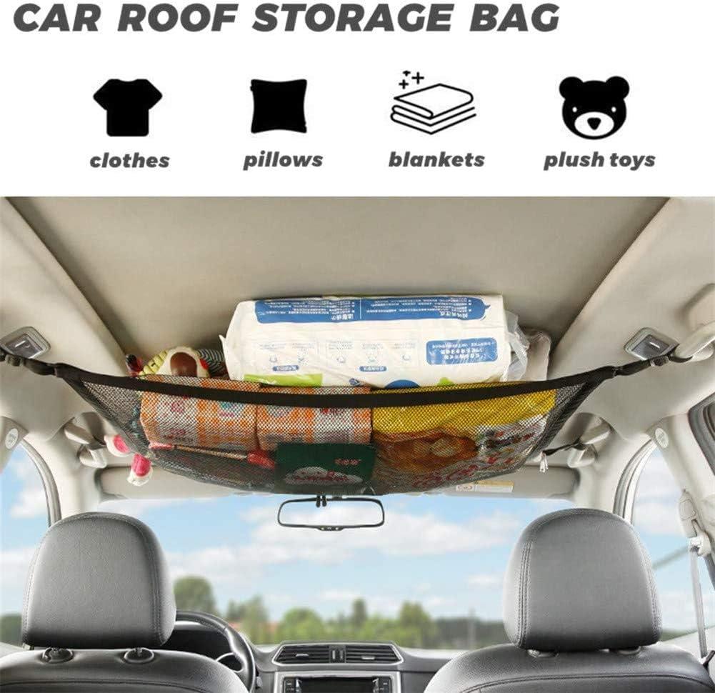 Kartisen Car Ceiling Cargo Net Mesh Roof Hanging Luggage Storage Organizer Pocket Adjustable 2-Layer Car Roof Interior Sundries Storage Pouch with Zipper