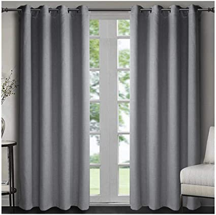 Singinglory Grey Blackout Curtains 90x90 For Bedroom 2 Panels Thermal Insulated Solid Window Treatment With Tiebacks For Living Room Grey 90x90 Amazon Co Uk Kitchen Home