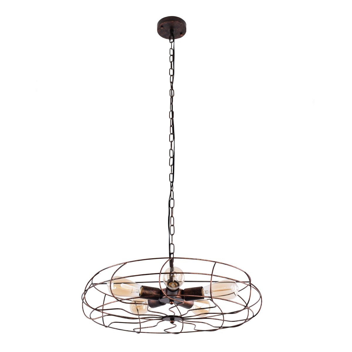 Lingkai Industrial Pendant Light Retro Ceiling Light Vintage Fan Style 5-Light Chandelier Hanging Light Fixture YL000163R