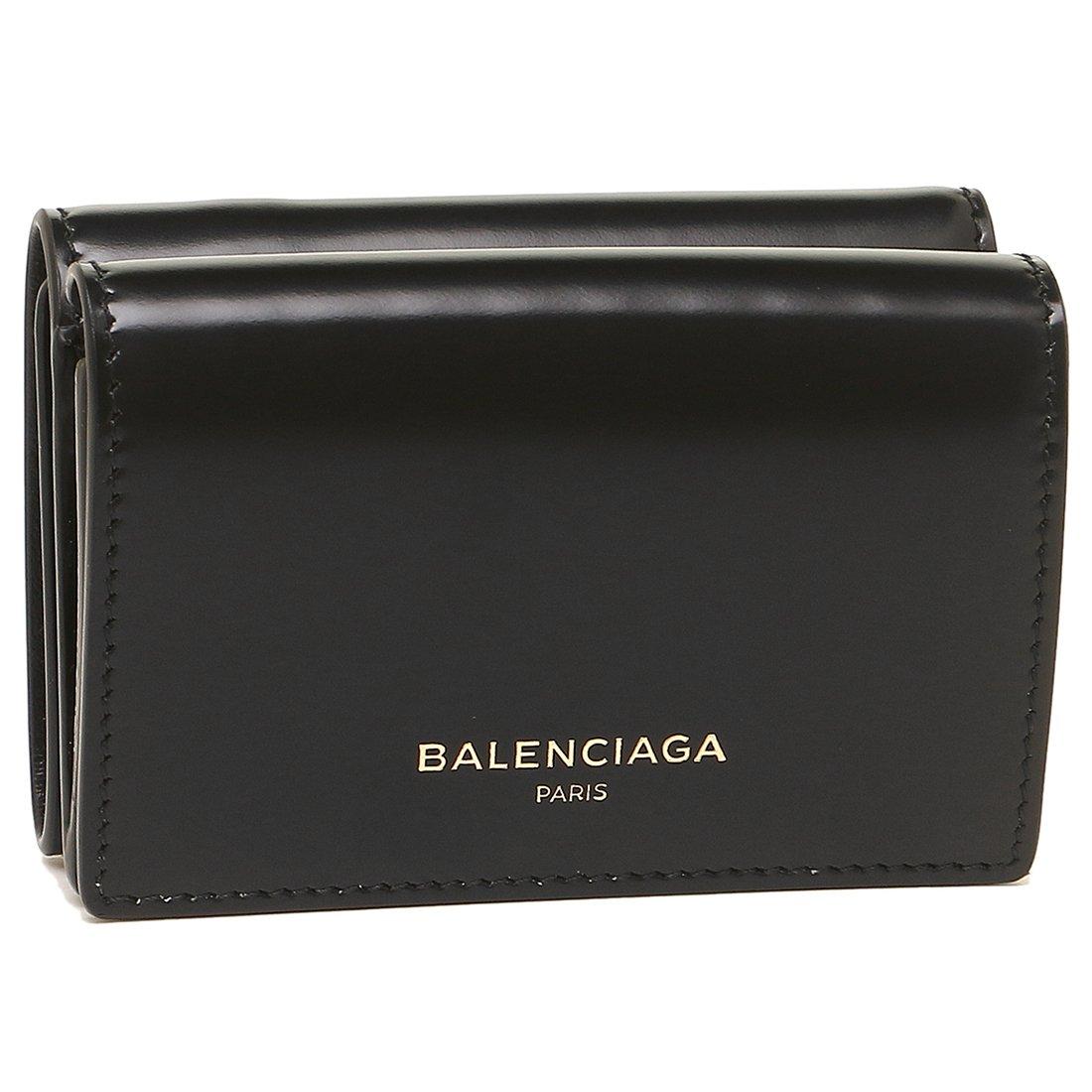 バレンシアガ 財布 BALENCIAGA 490621 DRY0N 1000 ESSENTIAL MINI WALLET レディース 三つ折り財布 無地 NOIR 黒 [並行輸入品] B07D6JFCC3