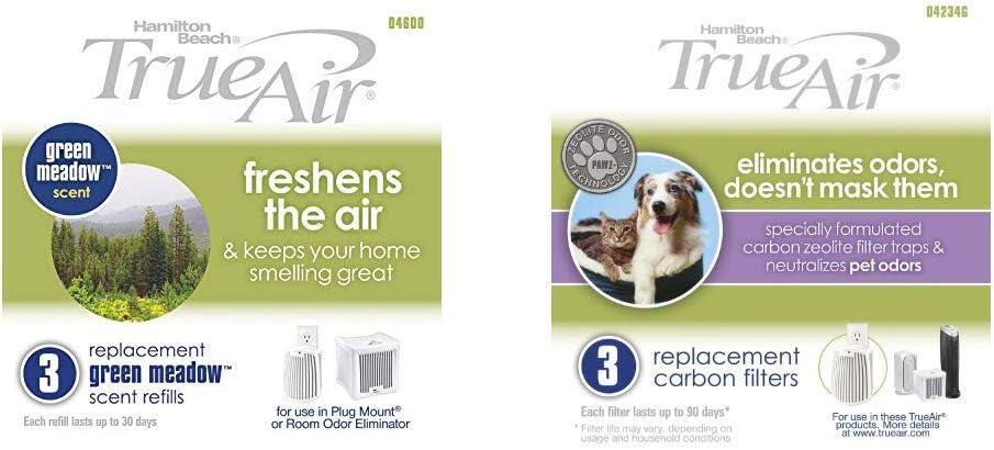 Hamilton Beach TrueAir Green Meadow Air Purifier Freshener Scent Refill, 3-Pack (04600) TrueAir Replacement Carbon Filter, 3-Pack (04234G)