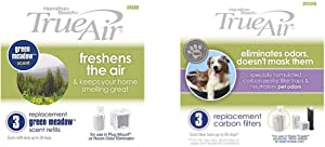 Hamilton Beach TrueAir Green Meadow Air Purifier Freshener Scent Refill, 3-Pack (04600) TrueAir Replacement Carbon Filter, 3-Pack (04234G)