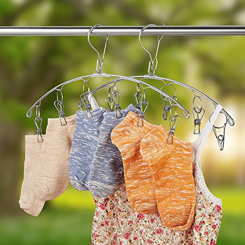 keso-home-set-of-2-stainless-steel-laundry-drying-rack-clip-hanger-with-6-clips-for-drying-socks-underwear-bras-towel-hat-scarf-pants-gloves-etc