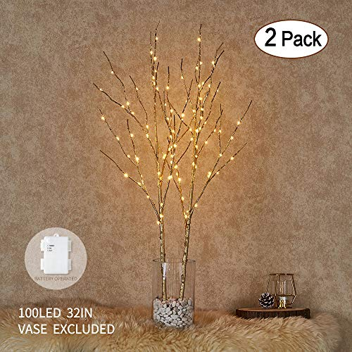 Tree Gold Branch (Hairui Lighted Golden Branches 32in 100LED Artificial Twig Branch with Fairy Lights Indoor Outdoor Use Battery Operated 2 Pack (Vase Excluded))