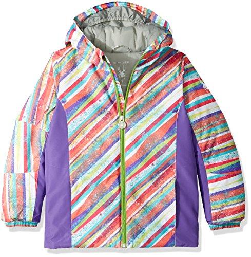 (Spyder Bitsy Charm Jacket, Multi Splatter Print/Iris, Size 7)