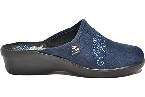 FLY FLOT Art L7861 Ciabatta pantofola invernale donna da casa in tessuto  nel colore blu. cd053ce6ad6